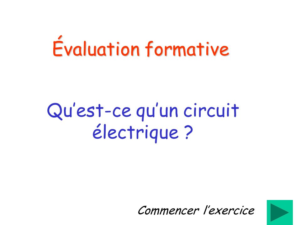 Évaluation formative Quest-ce quun circuit électrique ? Commencer lexercice