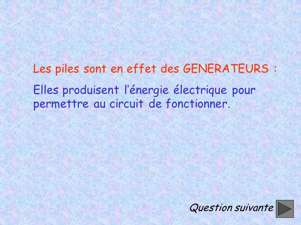 Les piles sont en effet des GENERATEURS : Elles produisent lénergie électrique pour permettre au circuit de fonctionner.