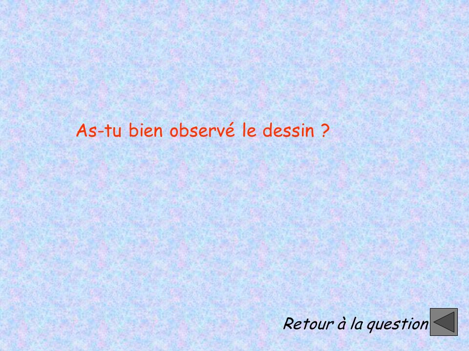 Retour à la question As-tu bien observé le dessin ?