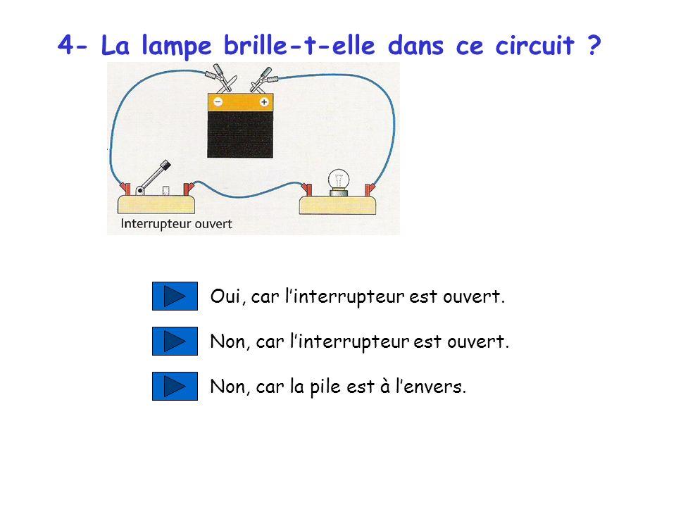 4- La lampe brille-t-elle dans ce circuit .Oui, car linterrupteur est ouvert.