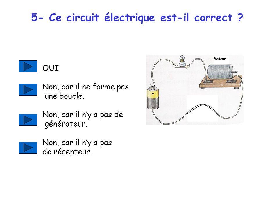 5- Ce circuit électrique est-il correct .OUI Non, car il ne forme pas une boucle.