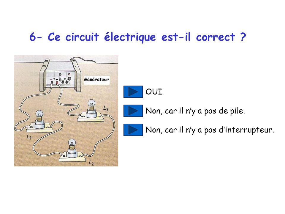 6- Ce circuit électrique est-il correct .OUI Non, car il ny a pas de pile.