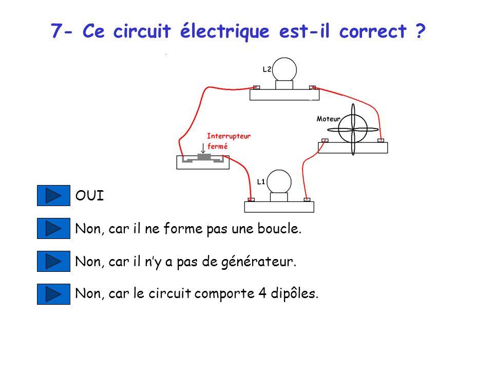 7- Ce circuit électrique est-il correct .OUI Non, car il ne forme pas une boucle.