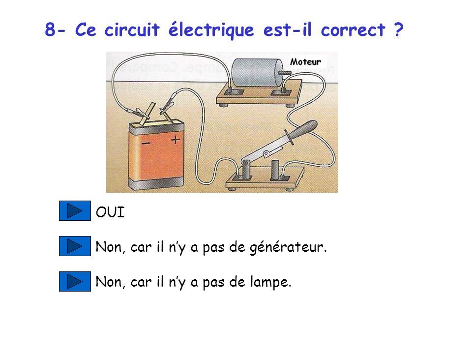 Question suivante Il ny a ni pile ni générateur dans ce circuit ! Il nest donc pas correct…