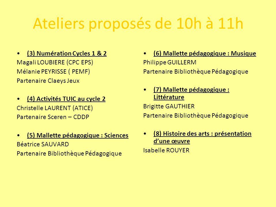 Ateliers proposés de 11h à 12h (9) Numération Cycles 1 & 2 Magali LOUBIERE (CPC EPS) Mélanie PEYRISSE ( PEMF) Partenaire Claeys Jeux (10) Activités TUIC au cycle 3 Christelle LAURENT (ATICE) Partenaire Sceren – CDDP