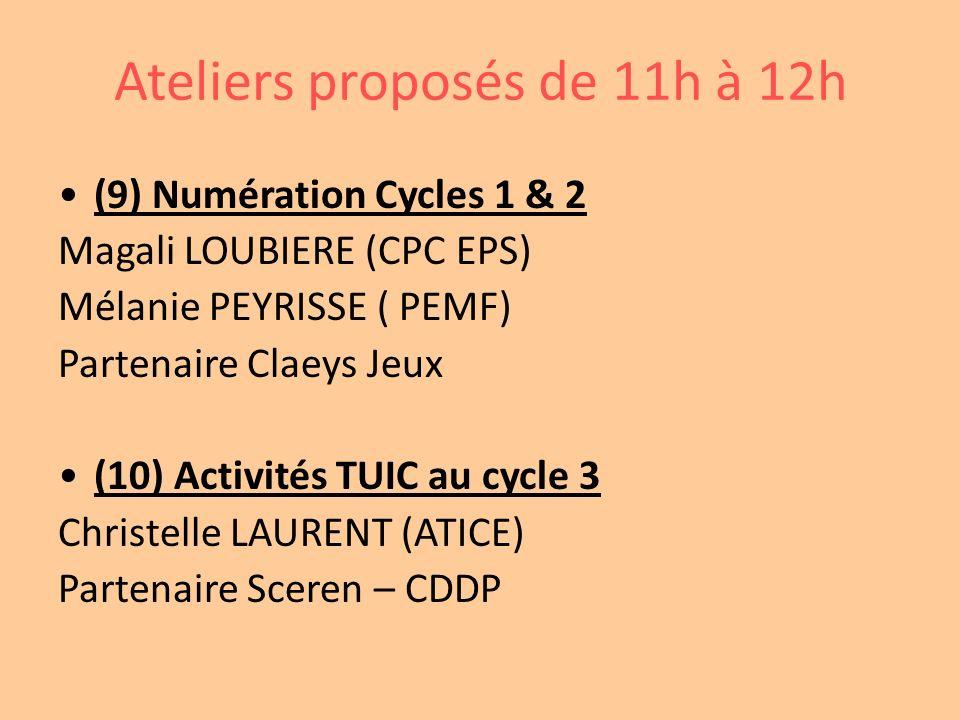 Ateliers proposés de 11h à 12h (9) Numération Cycles 1 & 2 Magali LOUBIERE (CPC EPS) Mélanie PEYRISSE ( PEMF) Partenaire Claeys Jeux (10) Activités TU
