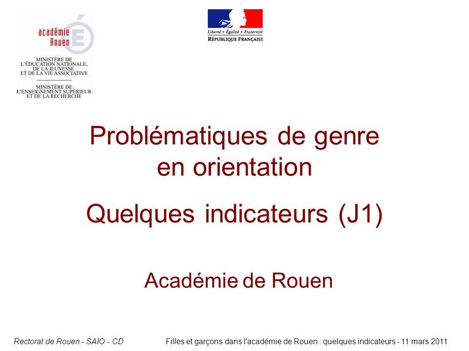 Rectorat de Rouen - SAIO - CDFilles et garçons dans l'académie de Rouen : quelques indicateurs - 11 mars 2011 Problématiques de genre en orientation Q