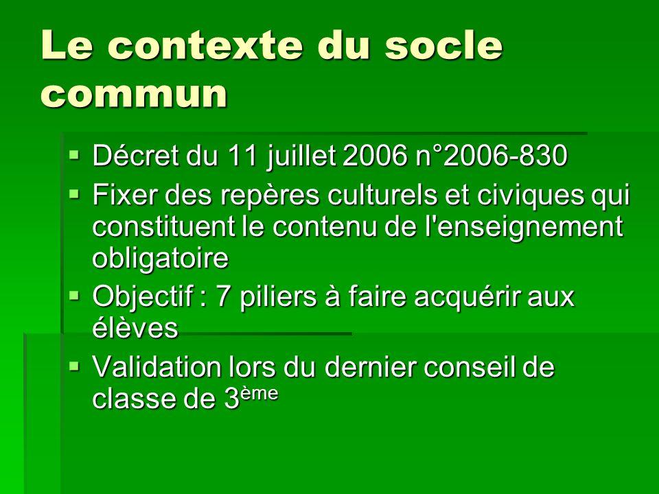 Le contexte du socle commun Décret du 11 juillet 2006 n°2006-830 Décret du 11 juillet 2006 n°2006-830 Fixer des repères culturels et civiques qui cons