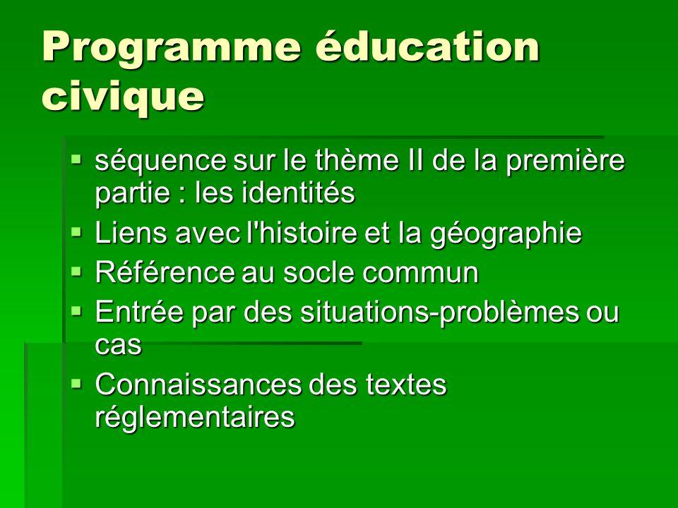 Programme éducation civique séquence sur le thème II de la première partie : les identités séquence sur le thème II de la première partie : les identi