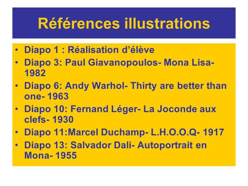 Références illustrations Diapo 1 : Réalisation délève Diapo 3: Paul Giavanopoulos- Mona Lisa- 1982 Diapo 6: Andy Warhol- Thirty are better than one- 1