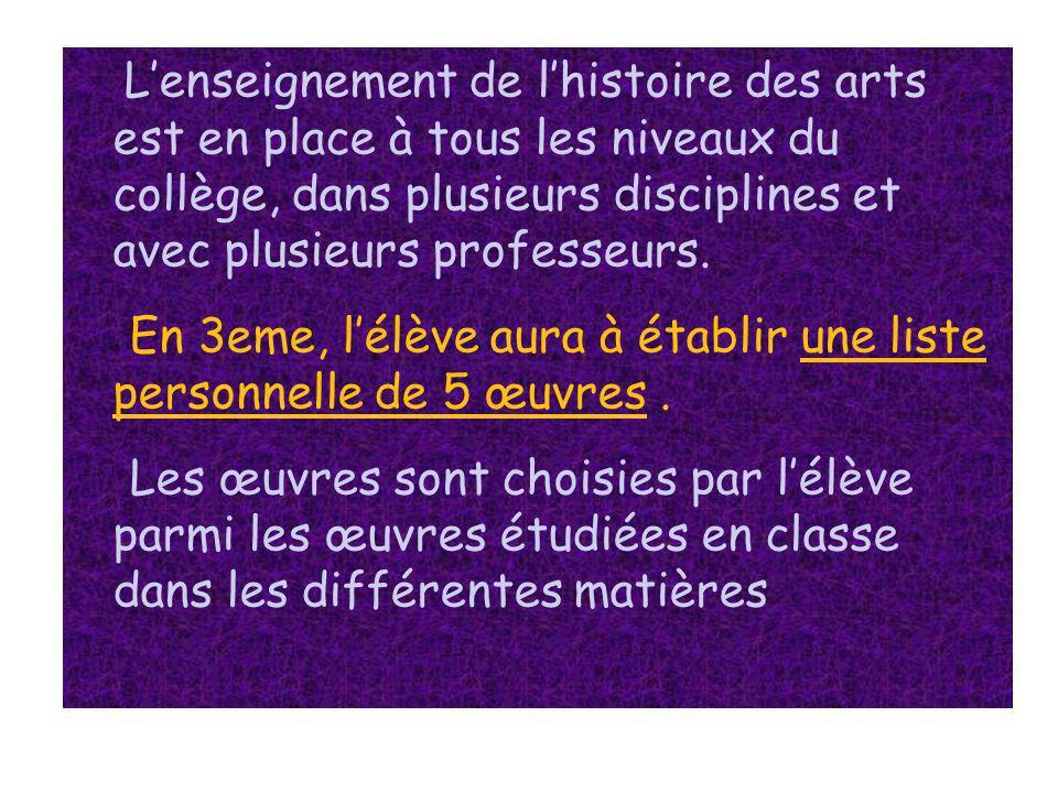 Lenseignement de lhistoire des arts est en place à tous les niveaux du collège, dans plusieurs disciplines et avec plusieurs professeurs. En 3eme, lél