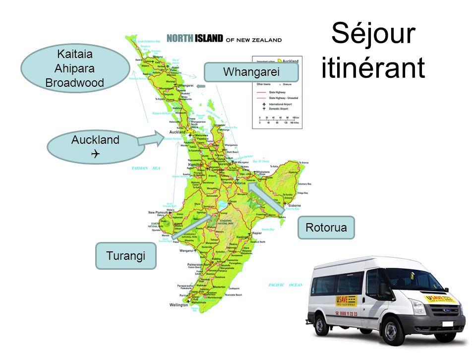 Séjour itinérant Auckland Whangarei Kaitaia Ahipara Broadwood Rotorua Turangi