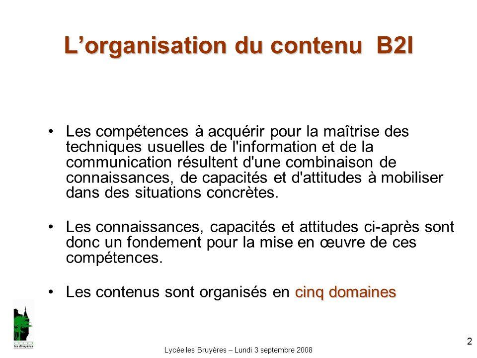 Lycée les Bruyères – Lundi 3 septembre 2008 2 Lorganisation du contenu B2I Les compétences à acquérir pour la maîtrise des techniques usuelles de l'in