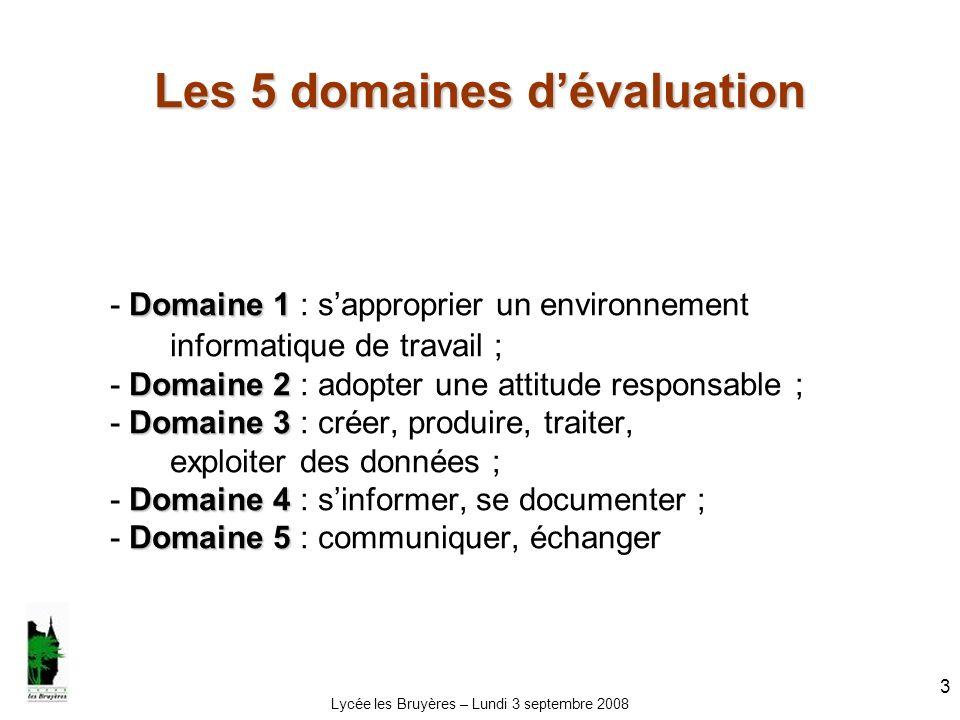 Lycée les Bruyères – Lundi 3 septembre 2008 3 Les 5 domaines dévaluation Domaine 1 Domaine 2 Domaine 3 Domaine 4 Domaine 5 - Domaine 1 : sapproprier u