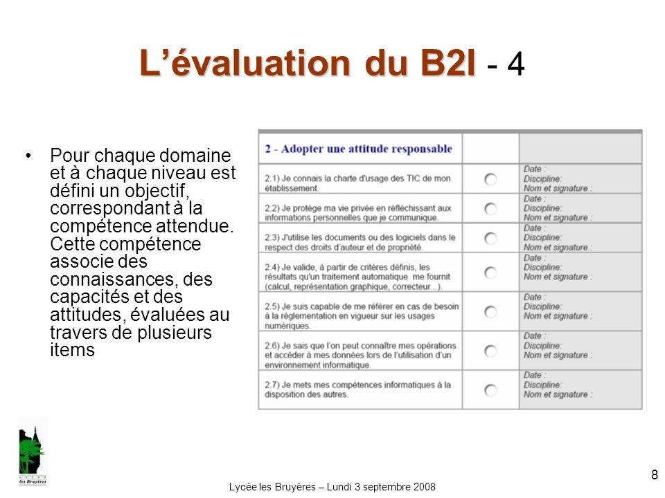 Lycée les Bruyères – Lundi 3 septembre 2008 8 Lévaluation du B2I Lévaluation du B2I - 4 Pour chaque domaine et à chaque niveau est défini un objectif,