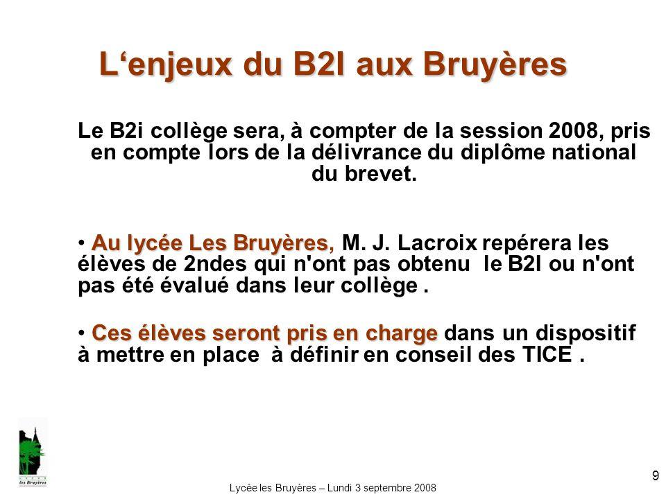 Lycée les Bruyères – Lundi 3 septembre 2008 10 Liens utiles Circulaires de référence Circulaires de référence : BO n° 34 du 22 septembre 2005 BO n° 42 du 16 novembre 2006 http://www.education.gouv.fr/bo/2007/22/MENE0753209A.htm EducnetEducnet : http://www.educnet.education.fr/dossier/b2ic2i/http://www.educnet.education.fr/dossier/b2ic2i/ http://www2.educnet.education.fr/sections/secondaire/usages/b2i EduscolEduscol : http://eduscol.education.fr/D0053/accueil.htmhttp://eduscol.education.fr/D0053/accueil.htm Académie de RouenAcadémie de Rouen : http://www.ac-rouen.fr/tice/Le-Brevet-Informatique-et-Internet http://www.ac-rouen.fr/tice/Le-Brevet-Informatique-et-Internet Académie de Nancy-MetzAcadémie de Nancy-Metz : http://www2.ac-nancy-metz.fr/quickplace/tic/ http://www2.ac-nancy-metz.fr/quickplace/tic/
