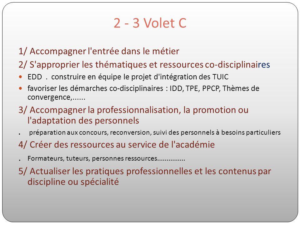 2 - 3 Volet C 1/ Accompagner l'entrée dans le métier 2/ S'approprier les thématiques et ressources co-disciplinaires EDD. construire en équipe le proj