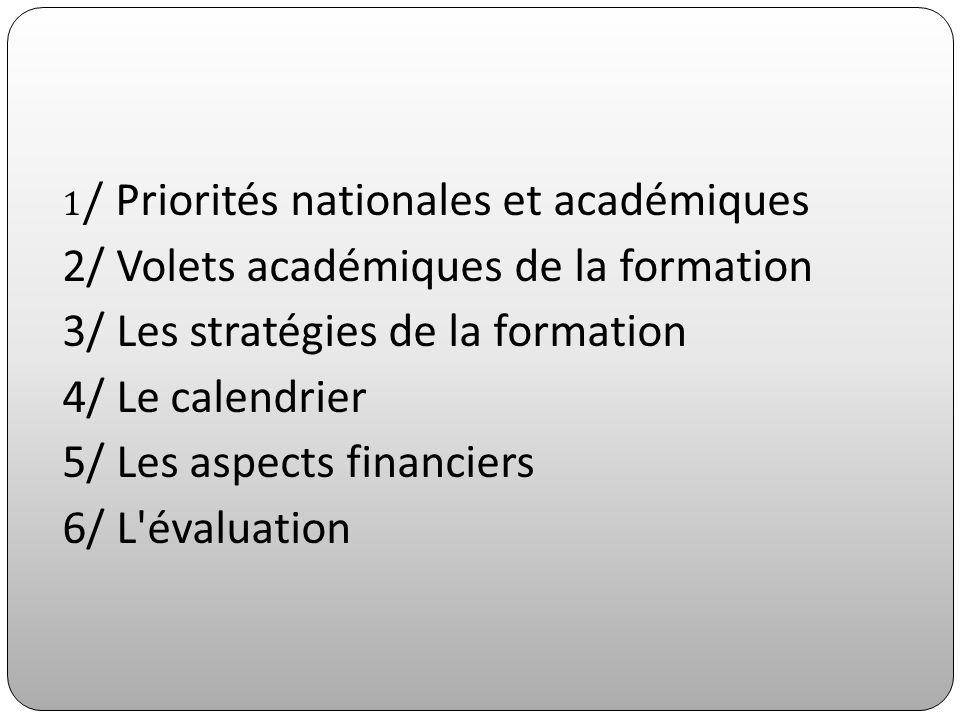 1 / Priorités nationales et académiques 2/ Volets académiques de la formation 3/ Les stratégies de la formation 4/ Le calendrier 5/ Les aspects financ