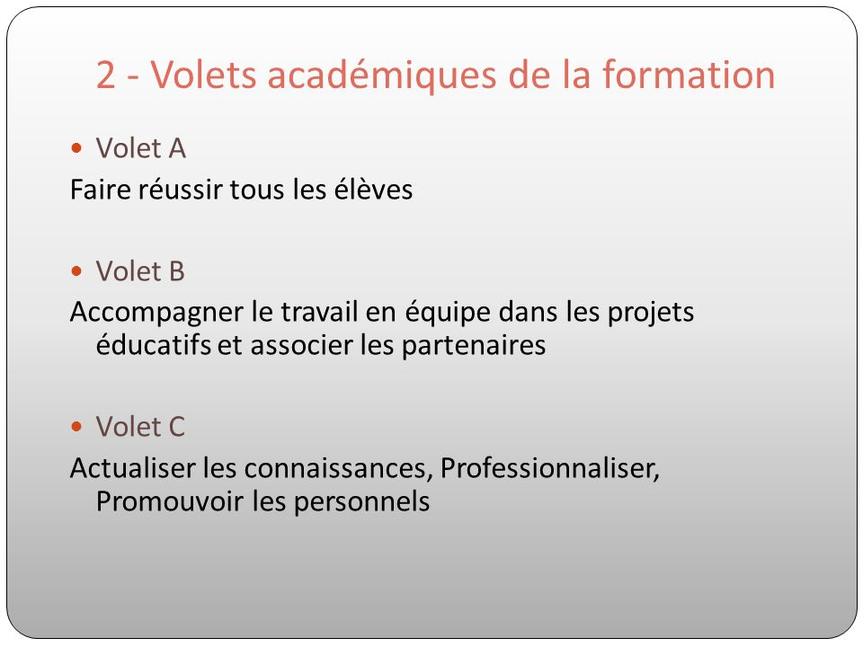 2 - Volets académiques de la formation Volet A Faire réussir tous les élèves Volet B Accompagner le travail en équipe dans les projets éducatifs et as