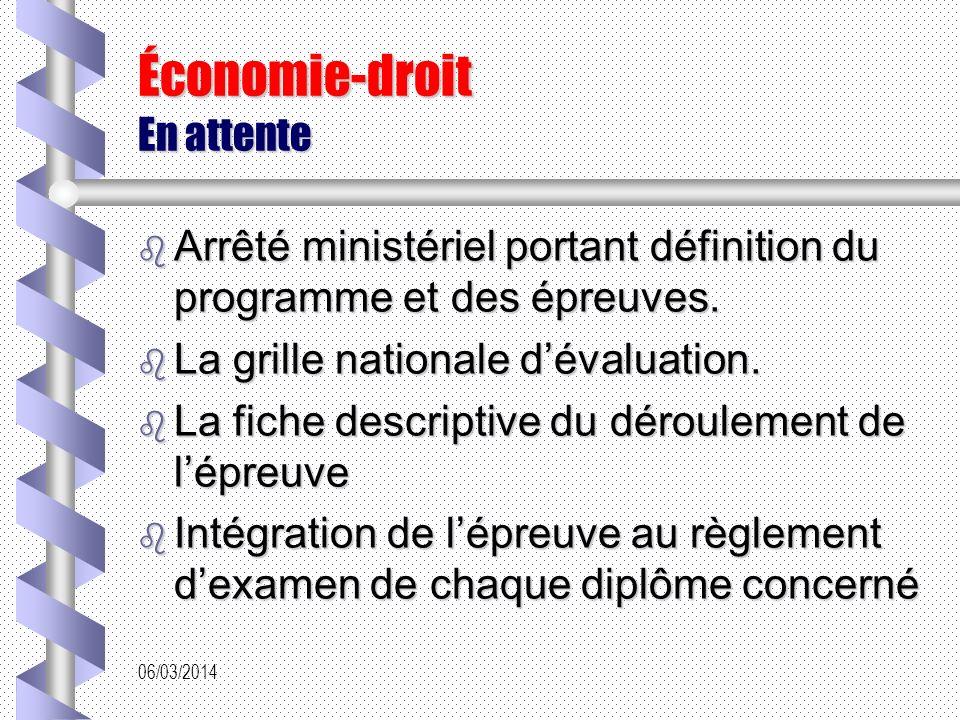 06/03/2014 Économie-droit En attente Arrêté ministériel portant définition du programme et des épreuves.