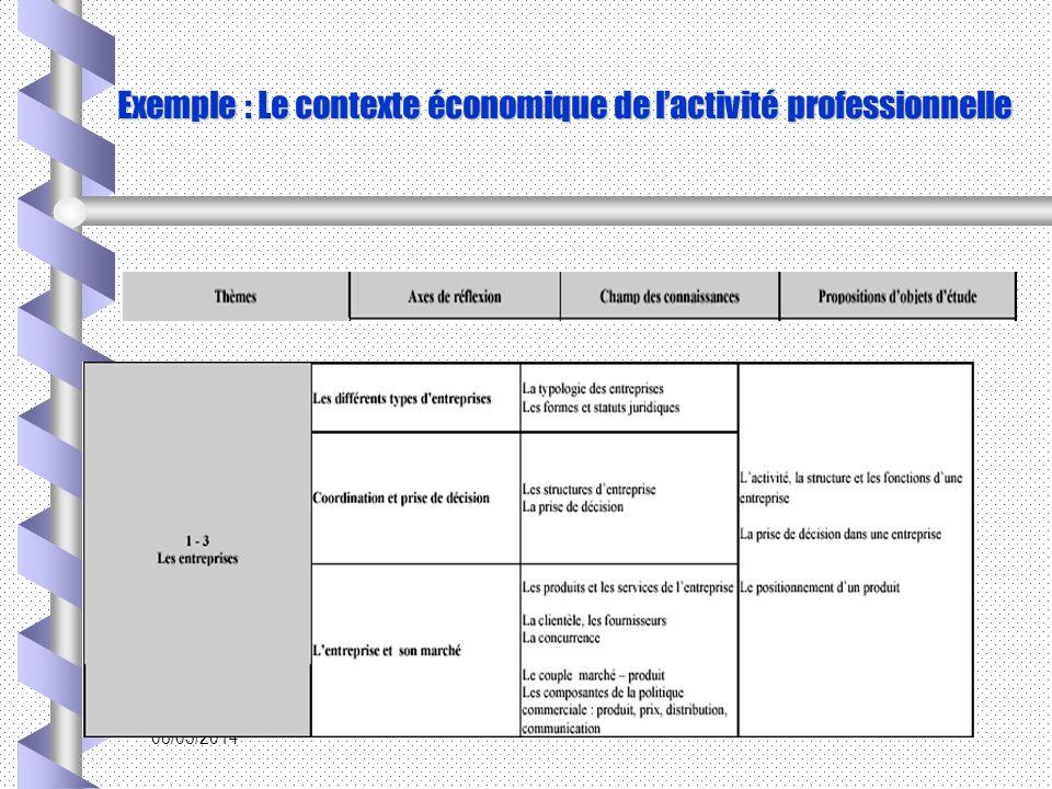 06/03/2014 Exemple : Le contexte économique de lactivité professionnelle
