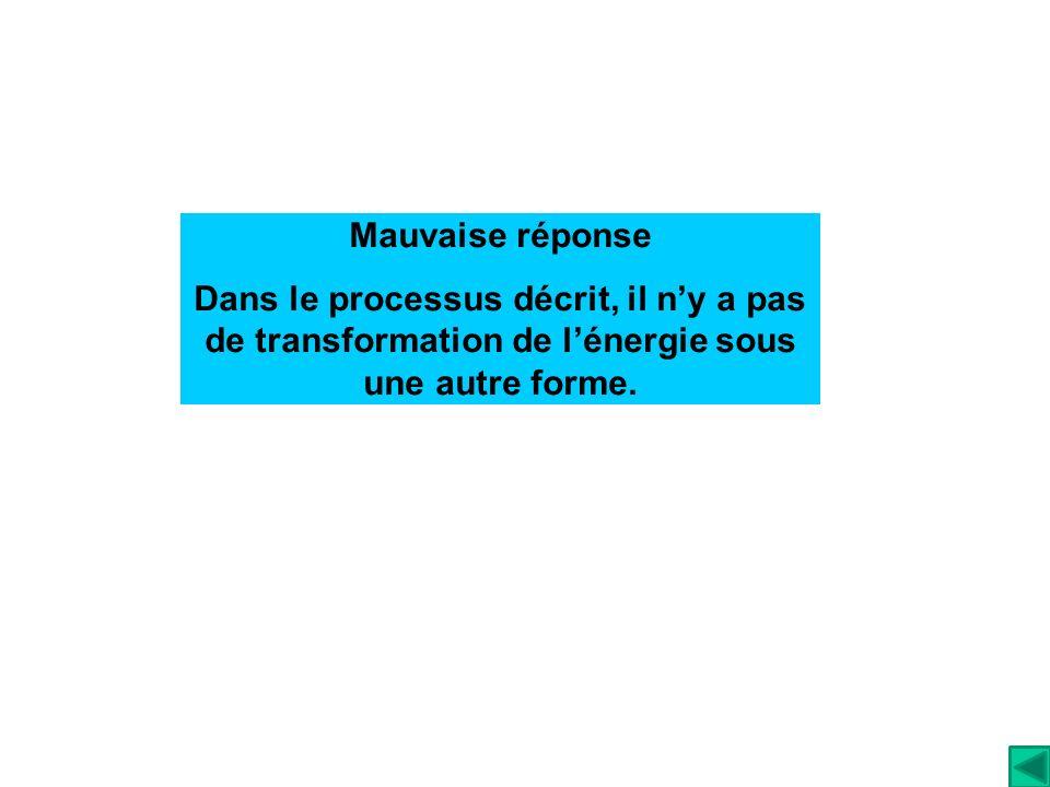 Mauvaise réponse Dans le processus décrit, il ny a pas de transformation de lénergie sous une autre forme.
