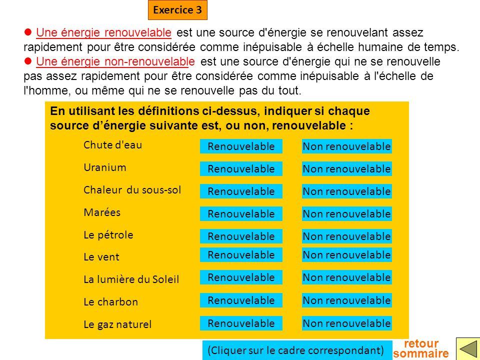 En utilisant les définitions ci-dessus, indiquer si chaque source dénergie suivante est, ou non, renouvelable : Une énergie renouvelable est une sourc
