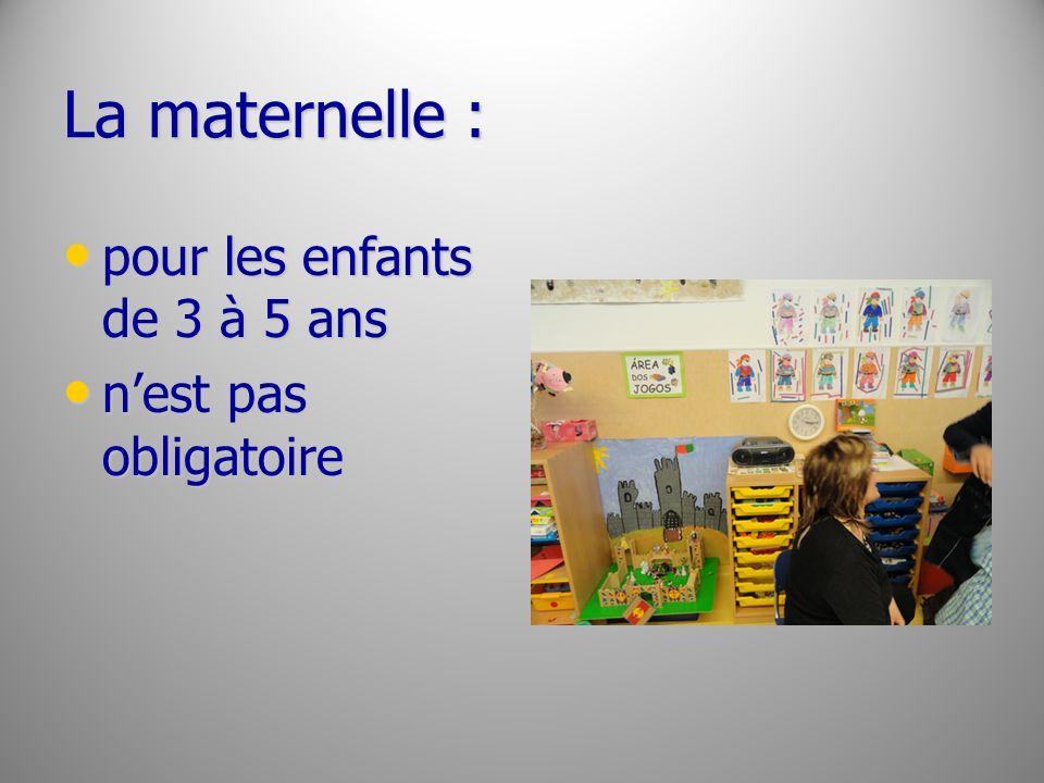 La maternelle : pour les enfants de 3 à 5 ans pour les enfants de 3 à 5 ans nest pas obligatoire nest pas obligatoire