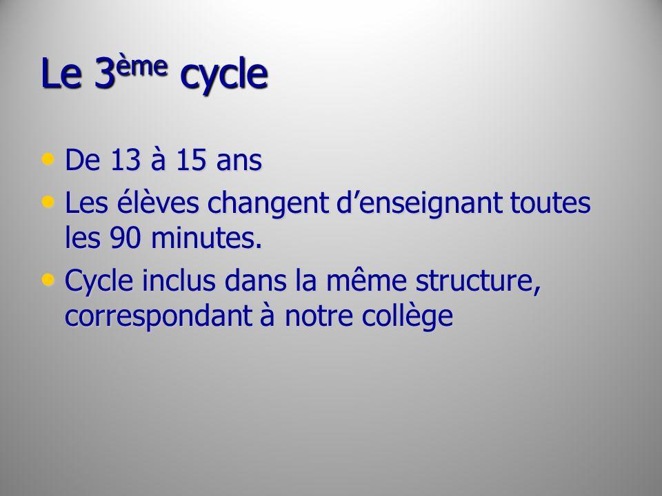 Le 3 ème cycle De 13 à 15 ans De 13 à 15 ans Les élèves changent denseignant toutes les 90 minutes. Les élèves changent denseignant toutes les 90 minu
