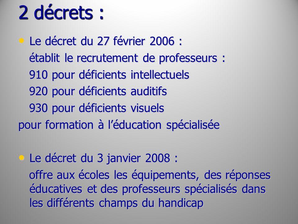 2 décrets : Le décret du 27 février 2006 : Le décret du 27 février 2006 : établit le recrutement de professeurs : établit le recrutement de professeur