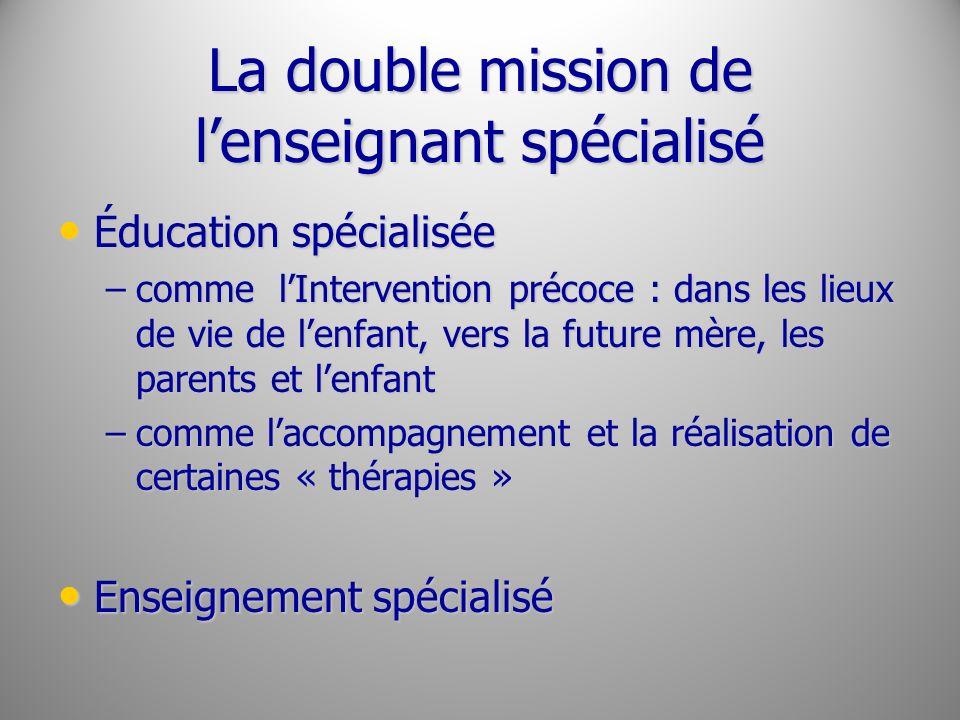 La double mission de lenseignant spécialisé Éducation spécialisée Éducation spécialisée –comme lIntervention précoce : dans les lieux de vie de lenfan