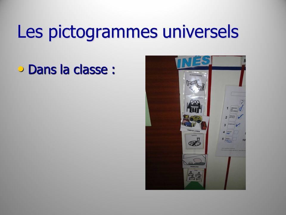 Les pictogrammes universels Dans la classe : Dans la classe :