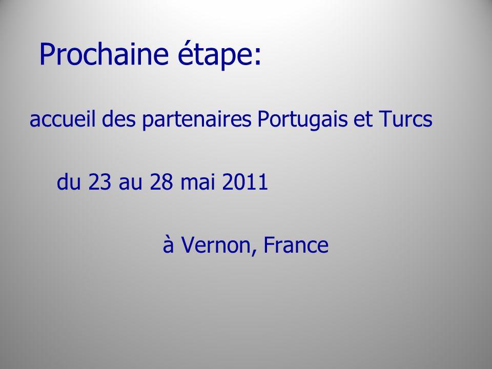 Prochaine étape: accueil des partenaires Portugais et Turcs du 23 au 28 mai 2011 à Vernon, France