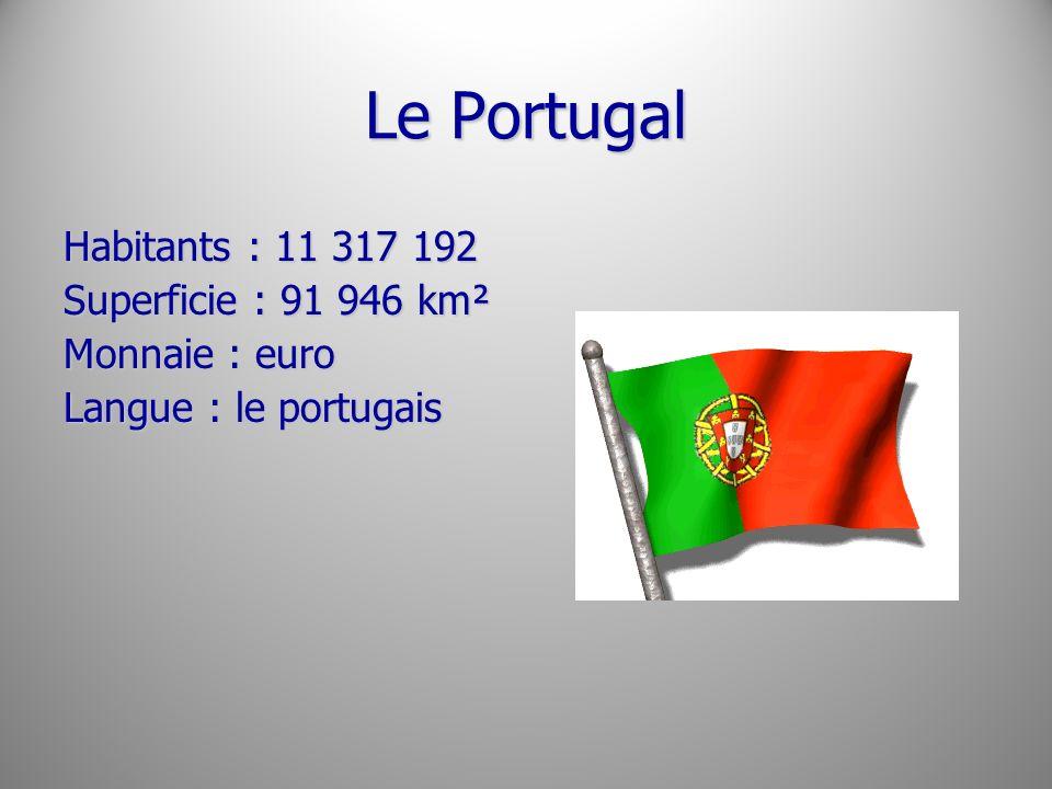 Le Portugal Habitants : 11 317 192 Superficie : 91 946 km² Monnaie : euro Langue : le portugais