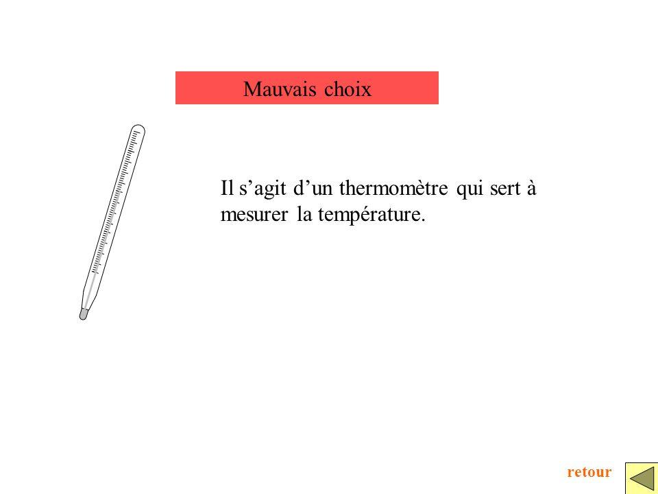 Mauvais choix Il sagit dun thermomètre qui sert à mesurer la température. retour
