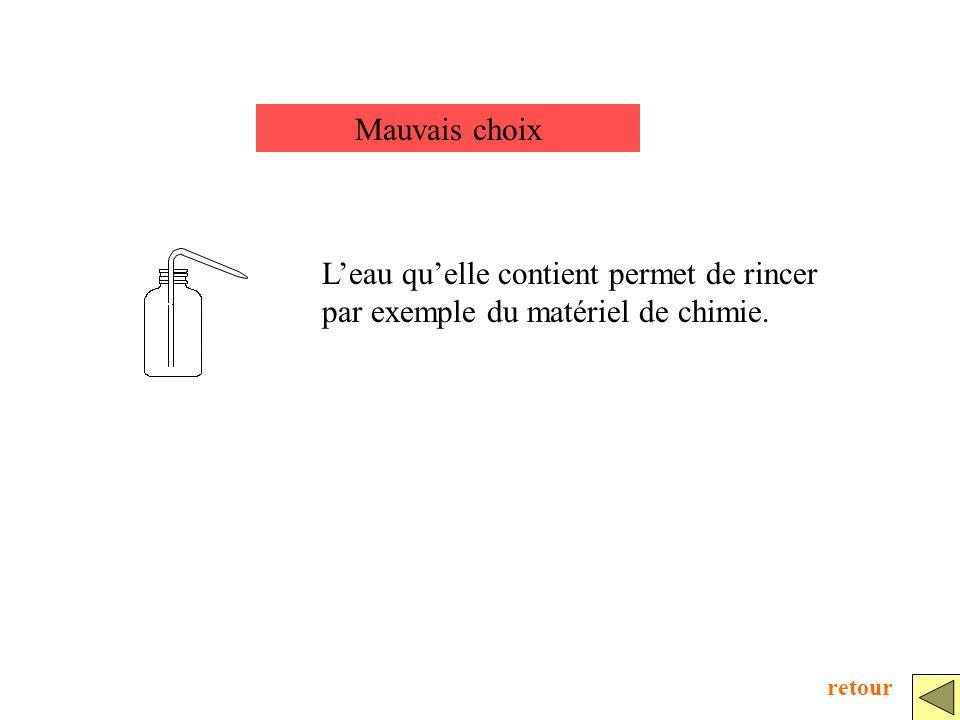 Mauvais choix Leau quelle contient permet de rincer par exemple du matériel de chimie. retour