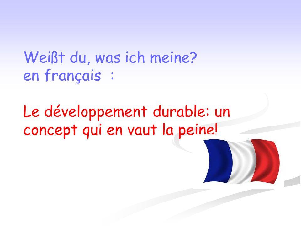 Weißt du, was ich meine? en français : Le développement durable: un concept qui en vaut la peine!