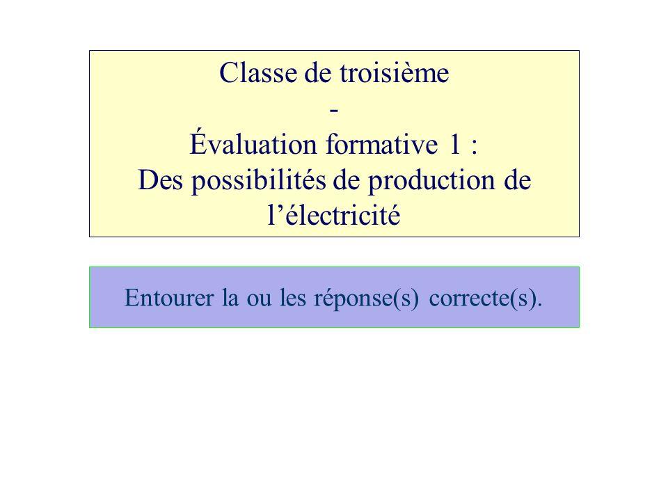 Classe de troisième - Évaluation formative 1 : Des possibilités de production de lélectricité Entourer la ou les réponse(s) correcte(s).