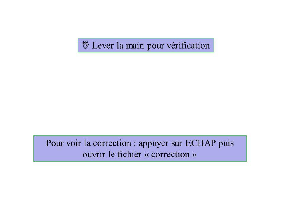 Lever la main pour vérification Pour voir la correction : appuyer sur ECHAP puis ouvrir le fichier « correction »