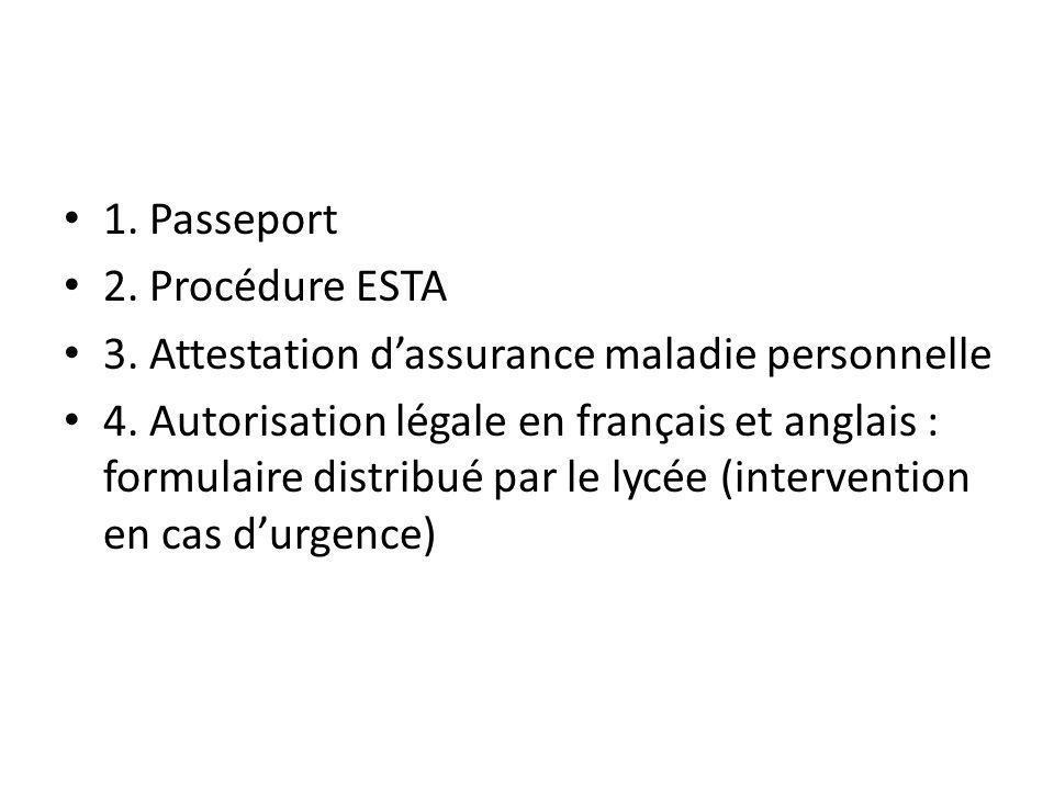 1. Passeport 2. Procédure ESTA 3. Attestation dassurance maladie personnelle 4.