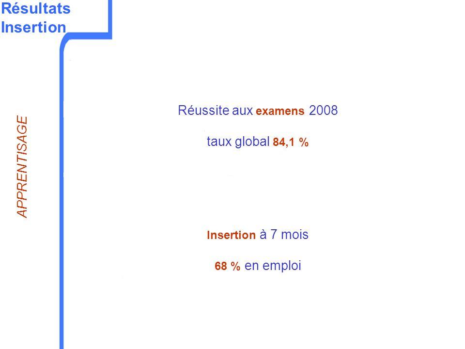 Résultats Insertion Réussite aux examens 2008 taux global 84,1 % Insertion à 7 mois 68 % en emploi APPRENTISAGE
