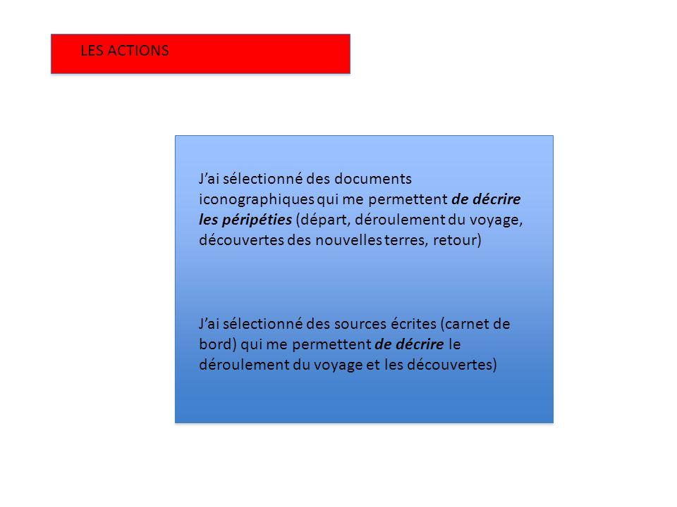 LES ACTIONS Jai sélectionné des documents iconographiques qui me permettent de décrire les péripéties (départ, déroulement du voyage, découvertes des