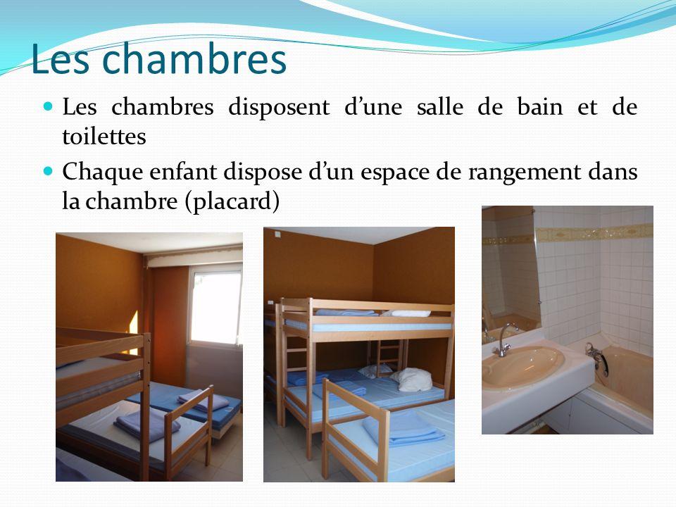 Les chambres Les chambres disposent dune salle de bain et de toilettes Chaque enfant dispose dun espace de rangement dans la chambre (placard)