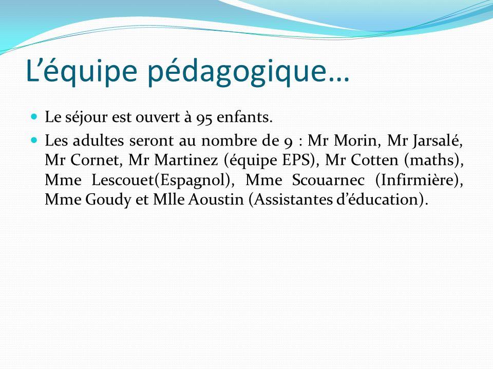 Léquipe pédagogique… Le séjour est ouvert à 95 enfants. Les adultes seront au nombre de 9 : Mr Morin, Mr Jarsalé, Mr Cornet, Mr Martinez (équipe EPS),