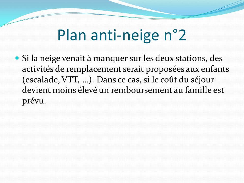 Plan anti-neige n°2 Si la neige venait à manquer sur les deux stations, des activités de remplacement serait proposées aux enfants (escalade, VTT, …).