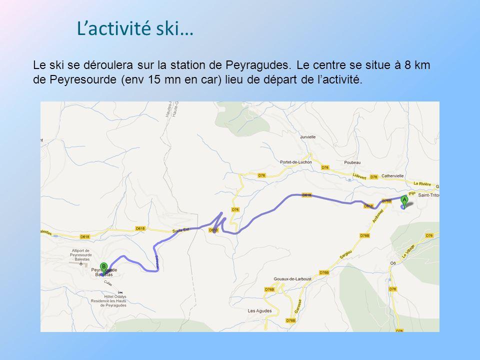 Le ski se déroulera sur la station de Peyragudes. Le centre se situe à 8 km de Peyresourde (env 15 mn en car) lieu de départ de lactivité.