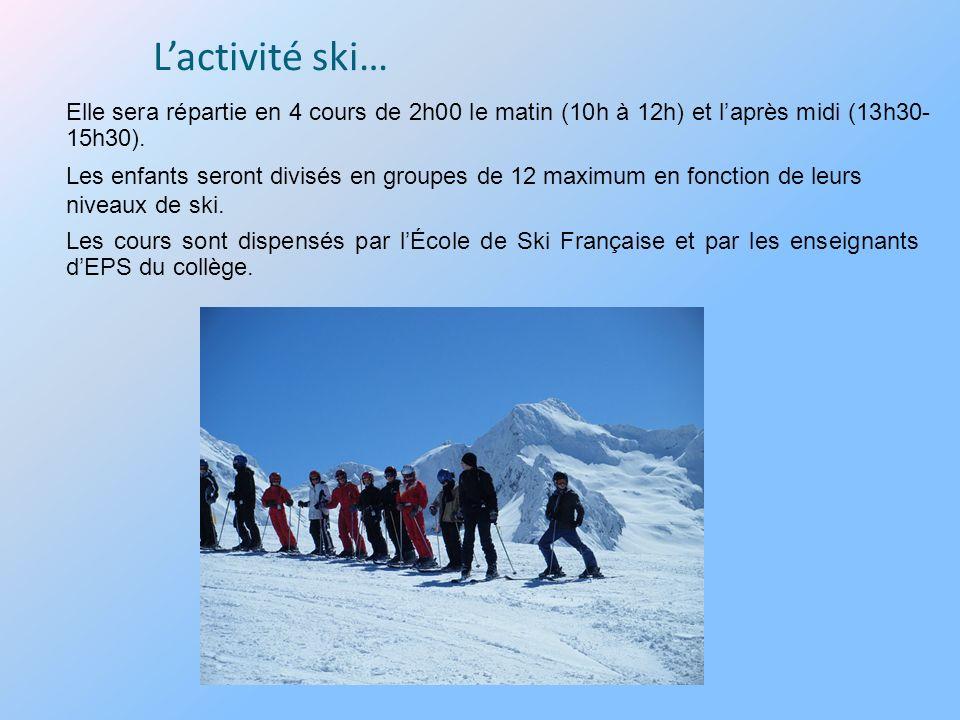 Lactivité ski… Les cours sont dispensés par lÉcole de Ski Française et par les enseignants dEPS du collège. Les enfants seront divisés en groupes de 1