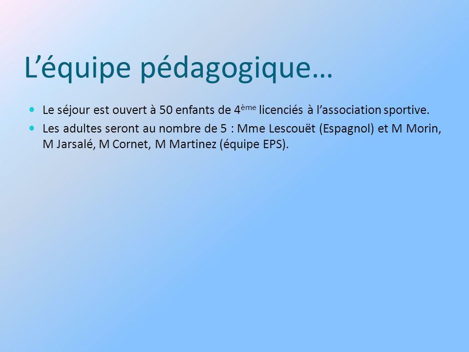 Léquipe pédagogique… Le séjour est ouvert à 50 enfants de 4 ème licenciés à lassociation sportive. Les adultes seront au nombre de 5 : Mme Lescouët (E