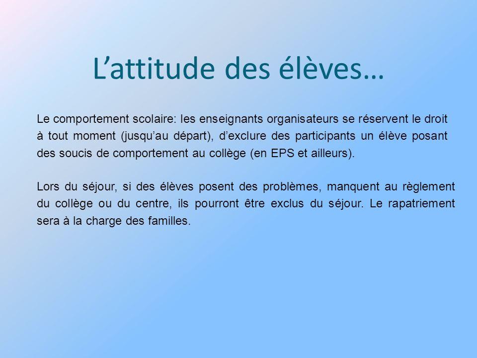 Lattitude des élèves… Le comportement scolaire: les enseignants organisateurs se réservent le droit à tout moment (jusquau départ), dexclure des parti
