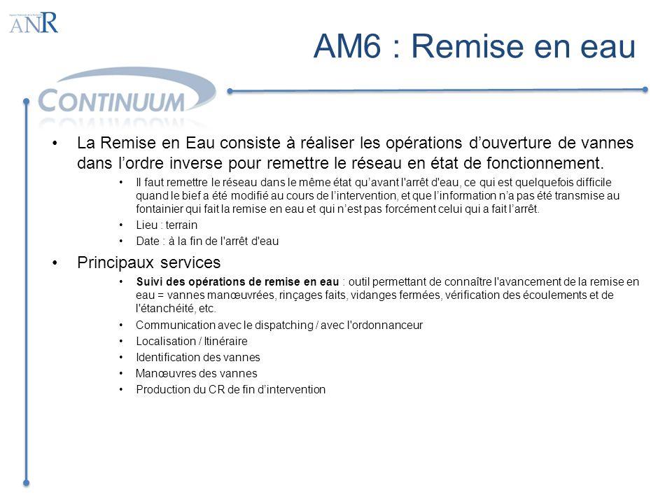 AM6 : Remise en eau La Remise en Eau consiste à réaliser les opérations douverture de vannes dans lordre inverse pour remettre le réseau en état de fo